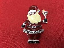 """Holiday Cheer Santa Christmas Brooch pin 1""""x 2"""" GIFT silver tone gift idea #14"""