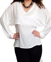 Ladies Chiffon Blouse Long Sleeve Tunic Top Size 10 12 14 16 18 20