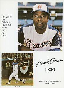 1974 Hank Aaron Night Photograph At Three Rivers Stadium - NM/MT