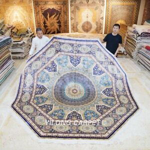 Yilong 10'x10' Octagon Oversized Handmade Silk Carpet Medallion Floor Rug Z499A