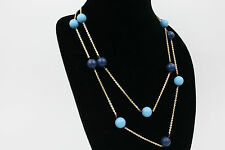 60s Mod Necklace Vtg Long Blue Bead 49 inch GOLD TONE Funky BOHO 70s Navy Popart