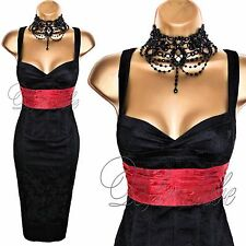 KAREN MILLEN Exquisite BLACK Red LACE Corset WIGGLE Cocktail DRESS UK 8 Weddings
