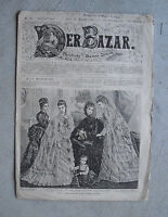 RARE Vintage December 15 1873 Der Bazar Newspaper Fashion Magazine German