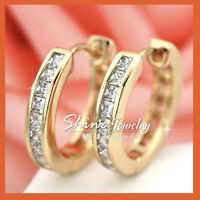 9K YELLOW GOLD GF PRINCESS SIGNITY DIAMOND SOLID ROUND HOOP SLEEPER EARRINGS NEW