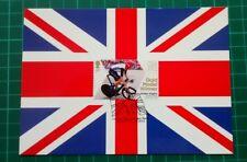 2012 Londres médaille d'or olympique gagnant Bradley Wiggins premier jour Union Jack pcard