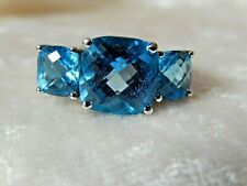 14 k White Gold & Blue Topaz Ring 6.0 gr Size 7.5