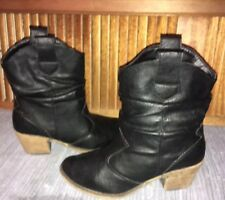Charles Albert 7M Short Faux Leather Black Cowboy Western Boots Slouch Scrunch
