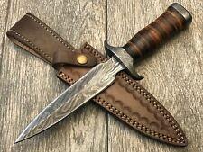 "ASH dh538 Damascus steel custom handmade hunting dagger knife 11"""