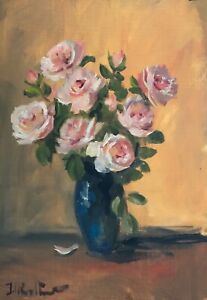 A4 print of Original oil painting floral art pink roses shabbychic vintage style