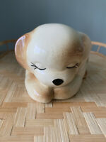 Vintage American Bisque Pottery Hand Painted Sleeping Puppy/Dog Planter/Vase