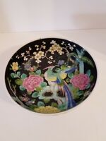Antique Cloisonne Nippon Hand Painted Peacock Bowl Marked