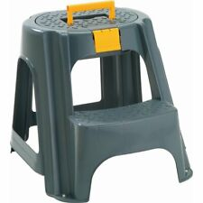Rimax 2-Step Plastic Step Stool with Top Organizer Compartment in Gray