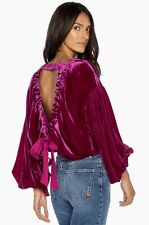 NWT Free People pink violet Shiny Velvet Backless Drawstring Bow Swing Top M