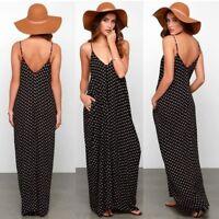 robe longue lunaires Summer Boho Beach Mousseline de soie Col en V à Pois Long