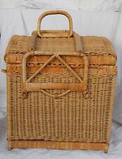 Vintage Picnic Basket & Wine Basket / Bottle Carrier - Bike Fittings - C 1930s