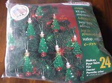 "BEADED CHRISTMAS ORNAMENTS  KIT MINI CHRISTMAS TREES SET OF 24 SIZE 2 1/4"" EACH"
