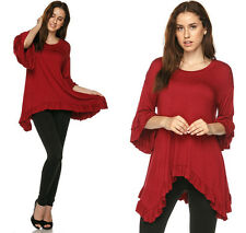 Burgundy Long Sleeve Womens Tunic Top Asymmetic Ruffled Hem Loose Flowy Shirt