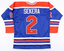 Andrej Sekera Signed Oilers Jersey (Beckett) 71st Overall pick 2004 NHL Draft