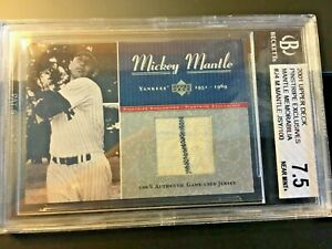 2001 Upper Deck Pinstripe Exclusives Mickey Mantle Jersey #5 of 50 Made BGS 7.5