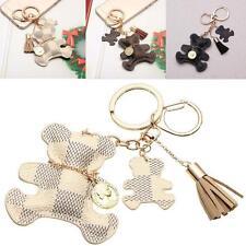 PU Leather Tassel Charm Bear Dog Key ChainRing Women Handbag Bag Pendant Keyring