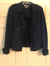 Lucky Brand Sz XS Pea Coat Navy Cotton Double Breasted Utility Jacket Pockets