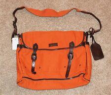 BRAND NEW $168 Polo Ralph Lauren Canvas Leather Messenger Bag Men Orange buckle