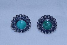 """New Listing1960's Navajo Sterling Silver Green Turquoise Screw Back Earrings, 9/16"""" Dia."""