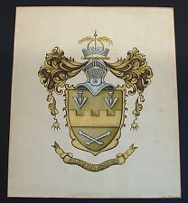 Coat Of Arms 1912 Original Painting~Family Crest~Nil Magnum Nisibonum~Beautiful!