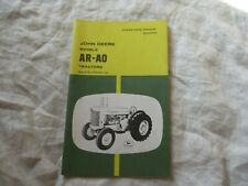 John Deere AR AO tractor operator's manual