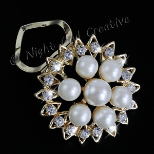 Pearl Scarf Clip, Ring, Clear Crystals, Gold Tone, Stocking Filler Gift Mother