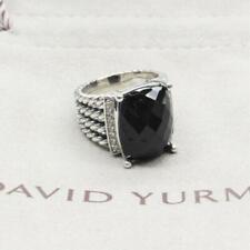 David Yurman wheaton 16x12mm black onyx & diamond ring size7 925 sterling Silver