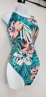 Womens Blue Floral-Print Plunge One Piece Bikini Swimsuit Size XL (16-18)