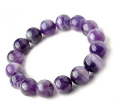 Pretty 6/8/10/12/14mm Dream Amethyst Gemstone Round Beads Stretch Bracelet 7.5''