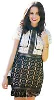 NEW GOODNIGHT MACAROON Black White Crochet Lace Mini Dress Short Sleeve XS BFK
