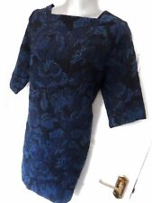 ❤ MANGO SUIT Size 10 (XS) Navy Blue Thicker Textured Shift Dress Back Zip NEW!
