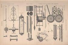 1874 PRINT ~ CLOCK ~ VARIOUS DIAGRAMS APPARTUS SUN DIAL PENDULUMS WATER CLOCK