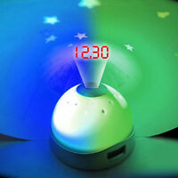 COLOUR CHANGING DIGITAL ALARM CLOCK TIME LED LIGHT PROJECTOR NIGHT TIME KIDS NEW