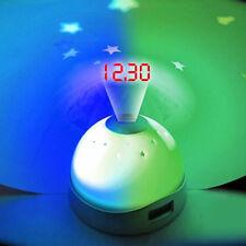 Reloj Despertador tiempo De Digital Con Cambio De Color Luz LED Proyector la noche niños nuevo
