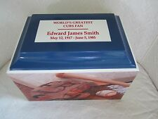 105 Baseball Sports Fan Funeral Memorial Cremation Urn -Cubs Colors & Free Text