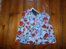 BNWT KATE MOSS LT BLUE/RED POPPY STRAPPY TOP 8 TOPSHOP
