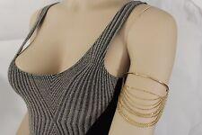 Women Gold Bangle Cuff Bracelet Fashion Metal Upper High Arm Elastic Band Waves