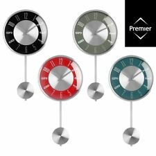 Pendulum Wall Clock / Blue Grey Red Black Silver / Analogue Numerical Clock