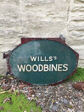 Metal Will's Woodbine Collectible Advertising Iron Sign. Antique Salvage.