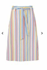 Sugarhill Boutique Jasmine Candy Stripe A-line Cotton Belted Midi Skirt 14