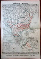 Balkans 1878 War Treaty old map Annexations Europe 1881 Armenia Cyprus Austria