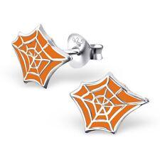 SPIDER WEB EARRINGS - 925 Sterling Silver POST STUD Earrings Halloween *NEW*
