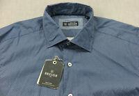 Breuer Made in Italy Mens Navy Blue Birdseye Micro 100% Cotton Shirt NWT XL $275