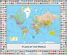 Poster LARGE MAP OF THE WORLD With Country Flags Chart Political 16x13