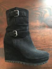 PRADA Black Suede Wedge Ankle Boots - Size 38.5 US 8.5 - New! - $790