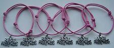 6 x Best Friends Charm Friendship Bracelets Friend Party Adjustable  FREEPOST